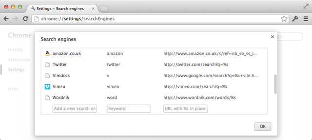 Custom search engines in Google Chrome