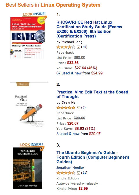 Linux best sellers on Amazon, with Practical Vim at number 2