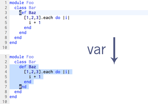 The 'var' text-object selects all of the current ruby block
