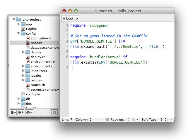Screenshot of TextMate's project drawer