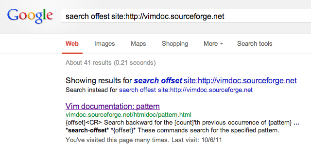 "Google says: 'did you mean ""search offset""?'"
